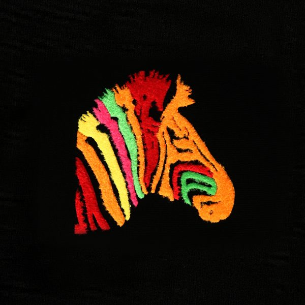 Colorful zebra Hot Transfer created with Hot Fix Flock